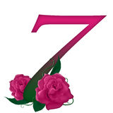 Number 7 pink floral. Pink rose decorated number 7 colorful and Stock Images