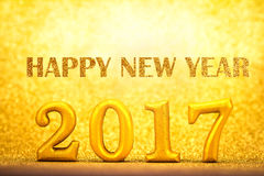 Number 2017 placed on gold elegant glamour background for new ye Royalty Free Stock Photography