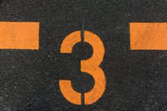 The Number 3 Printed On The Road Stock Image