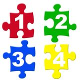 Number puzzels. 1234 number puzzle pieces Stock Photo