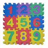 Number Puzzle. A child's number puzzle on white background royalty free stock photo