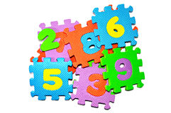 Number Puzzle Blocks. Puzzle of numbered blocks on white background royalty free stock photos