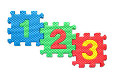 Number puzzles isolated. On white background royalty free stock photography
