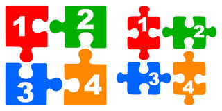 Number puzzles. Simple illustration of number puzzles on white background Royalty Free Stock Images