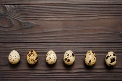 Quail eggs on dark wooden background. The view from the top. Copy spaсe. A number of quail eggs on dark wooden background. The view from the top. Copy spaс royalty free stock photography
