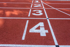 Number 1 2  3 and 4 of race track Stock Photo