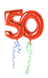 Number 50. Red balloons with ribbon - Number 50 Stock Photo