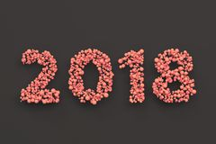 2018 number from red balls on black background. 2018 new year sign. 3D rendering illustration Stock Photos
