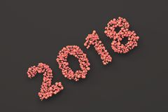 2018 number from red balls on black background. 2018 new year sign. 3D rendering illustration Stock Photo