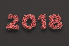 2018 number from red balls on black background. 2018 new year sign. 3D rendering illustration Royalty Free Stock Photo