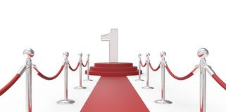 Number 1 red carpet VIP way silver chrome fence on white gray background Royalty Free Stock Image
