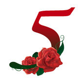 Number 5 red floral  illustration. Red rose decorated number 5 , colorful and Royalty Free Stock Image