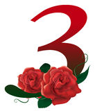 Number 3 red floral  illustration Royalty Free Stock Photo