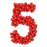 Number 5, from red twenty-sided dice, 3D rendering stock illustration