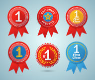 Number 1 ribbons and badges Stock Photography