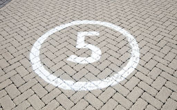 Number '5' on the road Stock Images