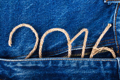 The number 2016 of rope on the background of the front of the je Royalty Free Stock Photo
