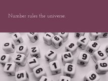 Number rules the universe inspirational quote stock photo