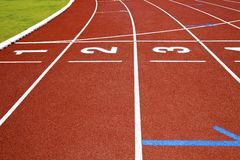 Number on running track finish line Royalty Free Stock Photos