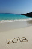 Number 2013 on the sandy beach Stock Photography