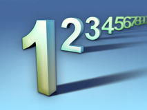 Number sequence. Numbers sequence going from one to nine. Digital illustration Stock Photo