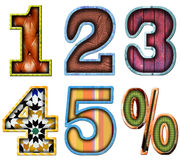 Number series one to five Royalty Free Stock Images