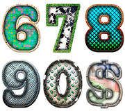 Number series six to zero Royalty Free Stock Image