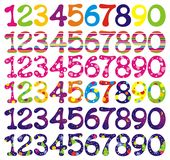 Number set with abstract patterns. vector illustration