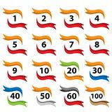 Number set button with ribbon, icon set. flat designs. Vector Illustration Stock Photography
