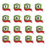 Number set button with shield icon. Flat design. Royalty Free Stock Image