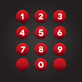 Number set circle button Stock Photos
