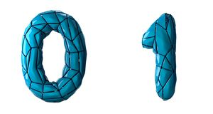 Number set 0, 1 made of blue color plastic. vector illustration