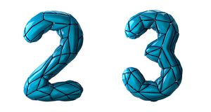 Number set 2, 3 made of blue color plastic. Collection symbols of low poly style blue color plastic isolated on white background 3d rendering royalty free illustration