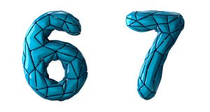 Number set 6, 7 made of blue color plastic. Collection symbols of low poly style blue color plastic isolated on white background 3d rendering vector illustration