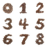 Number set made of coffee beans Royalty Free Stock Image