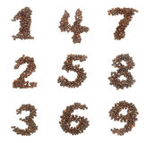 Number set made of coffee beans Stock Image