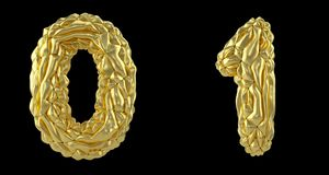 Number set 0, 1 made of crumpled foil. Collection symbols of crumpled gold foil isolated on black background. 3d. Rendering vector illustration