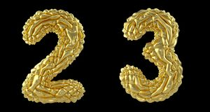 Number set 2, 3 made of crumpled foil. Collection symbols of crumpled gold foil isolated on black background. 3d. Rendering royalty free illustration