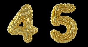 Number set 4, 5 made of crumpled foil. Collection symbols of crumpled gold foil isolated on black background. 3d. Rendering stock illustration