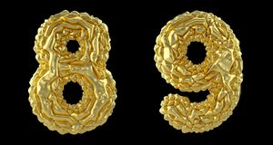 Number set 8, 9 made of crumpled foil. Collection symbols of crumpled gold foil isolated on black background. 3d. Rendering vector illustration