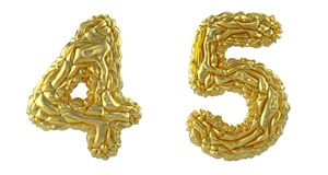 Number set 4, 5 made of crumpled foil. Collection symbols of crumpled gold foil isolated on white background. 3d rendering stock illustration