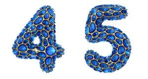Number set 4, 5 made of 3d render diamond shards blue color. vector illustration