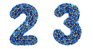 Number set 2, 3 made of 3d render diamond shards blue color. royalty free illustration