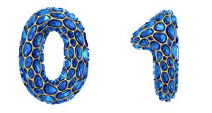 Number set 0, 1 made of 3d render diamond shards blue color. royalty free illustration