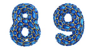 Number set 8, 9 made of 3d render diamond shards blue color. vector illustration