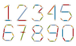 Number set made of pencils Royalty Free Stock Photos