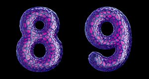Number set 8, 9 made of purple plastic 3d rendering. Number set 8, 9 made of purple plastic. Collection symbols of plastic with abstract holes isolated on black royalty free illustration
