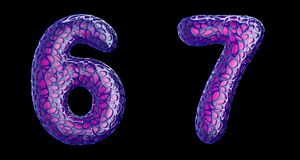 Number set 6, 7 made of purple plastic 3d rendering. Number set 6, 7 made of purple plastic. Collection symbols of plastic with abstract holes isolated on black vector illustration