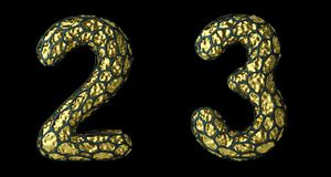 Number set 2, 3 made of realistic 3d render golden shining metallic. stock image