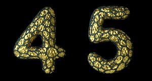 Number set 4, 5 made of realistic 3d render golden shining metallic. royalty free stock photo